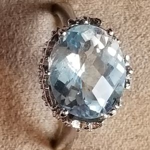 6 tcw Oval Checkerboard Cut Blue Topaz Solitaire